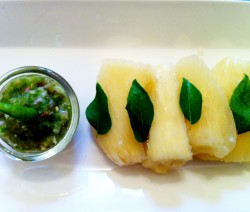 Steamed Tapioca With Green Chillii, Shallots & Coconut oil Dip