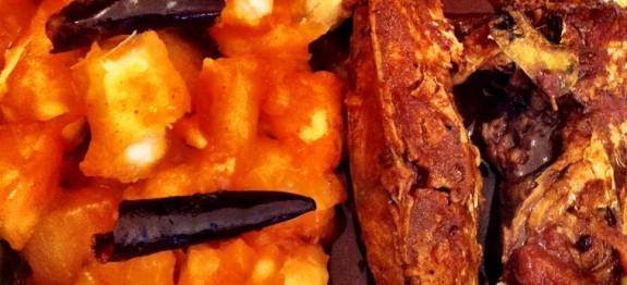 Tapioca ullathu with fish curry