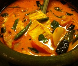 Sole Fish with mango and coconut curry