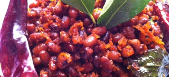 Red cow peas / red cow beans coconut-chilli stir fry