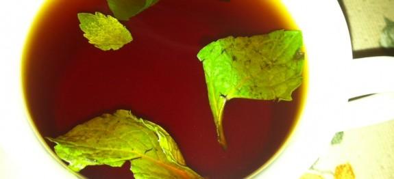 Black Tea with mint leaves