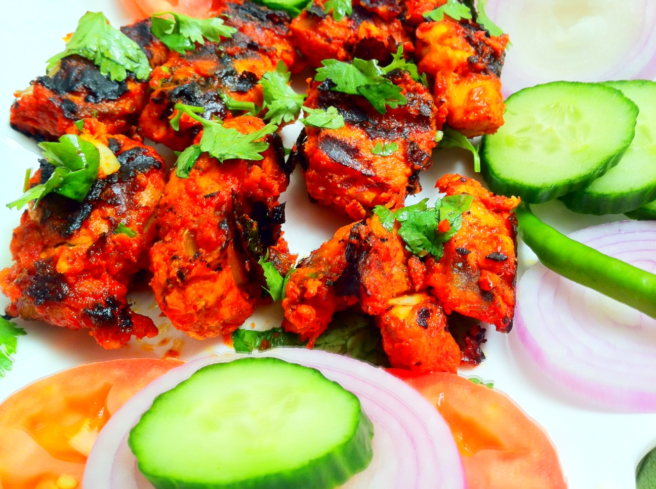 fish tikka boneless fish pieces in grill oven spicy