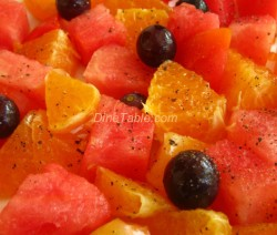 Salad made with Tomato, Watermelon, Grape and Orange