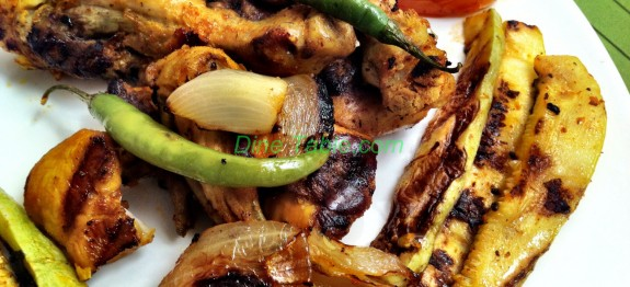 Grilled Chicken with Grilled Marrow, Tomato and Onion