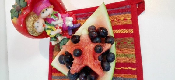 Fresh Fruit Salad With Watermelon And  Grapes