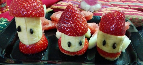 Christmas salad recipe | Fruits salad with banana and strawberry recipe