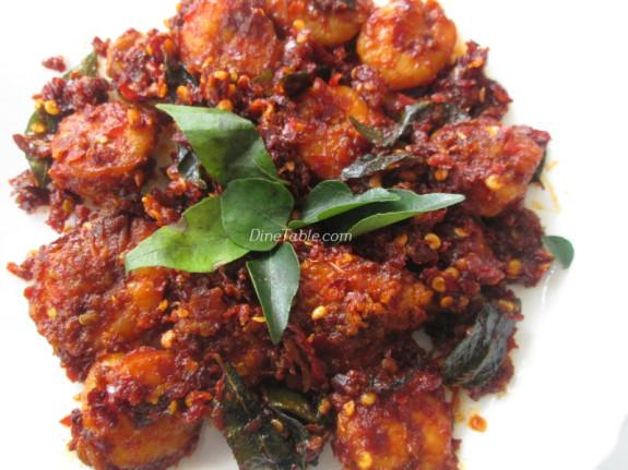 Dry Red Chilli Prawns Fry Recipe - നാടൻ ചെമ്മീൻ ഫ്രൈ - Tasty Recipe