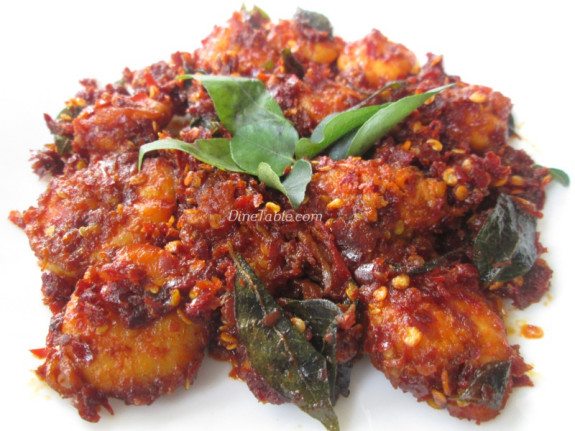 Dry Red Chilli Prawns Fry Recipe - നാടൻ ചെമ്മീൻ ഫ്രൈ - Delicious Recipe