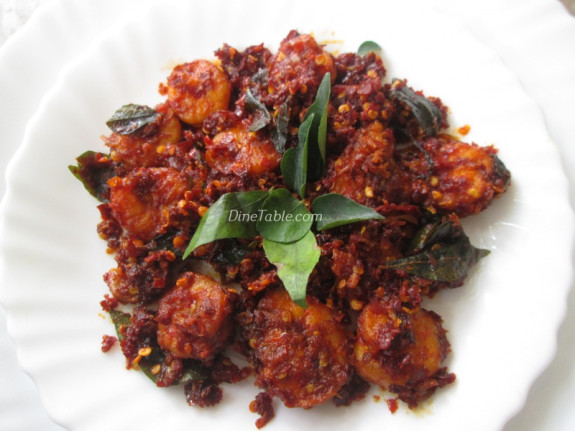 Dry Red Chilli Prawns Fry Recipe - നാടൻ ചെമ്മീൻ ഫ്രൈ - Authentic Recipe