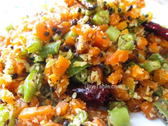 Carrot Beans Thoran Recipe - കാരറ്റ് ബീൻസ് തോരൻ - Vegetarian Recipe