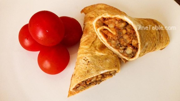 Omelette wrap with Moong dal stir fry Recipe - Easy Recipe - Brunch Recipe