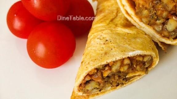 Omelette wrap with Moong dal stir fry Recipe - Easy Recipe - Breakfast Recipe