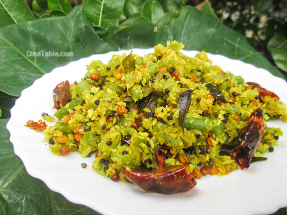 Chembin Thal Thoran Recipe - ചേമ്പിൻ താൾ തോരൻ - Taro Stem Stir Fry Recipe - Sadya Recipe