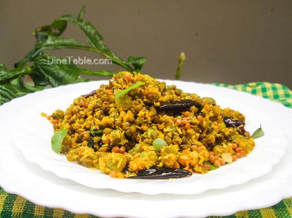 Chenathandu Cherupayar Thoran Recipe - Kerala Recipe - Elephant Yam Stem and Green Gram Stir Fry Recipe