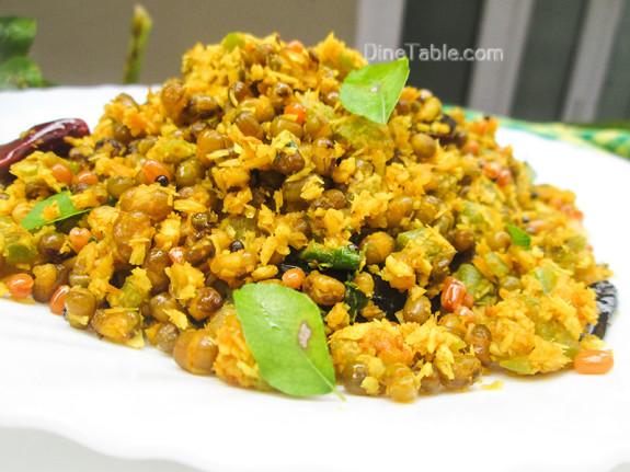 Chenathandu Cherupayar Thoran Recipe - Kerala Recipe - Vegetarian Recipe