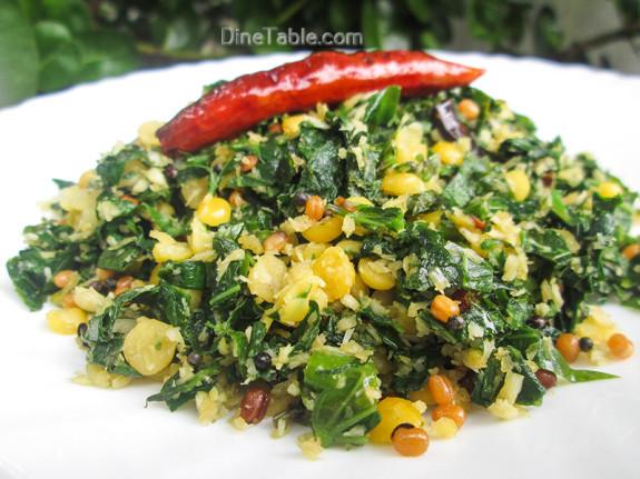 Cheera Parippu Thoran Recipe - ചീര പരിപ്പ് തോരൻ - Spinach Dal Stir Fry Recipe - Vegetarian Recipe