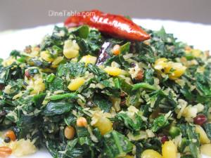 Cheera Parippu Thoran Recipe - ചീര പരിപ്പ് തോരൻ - Spinach Dal Stir Fry Recipe - Stir Fry Recipe