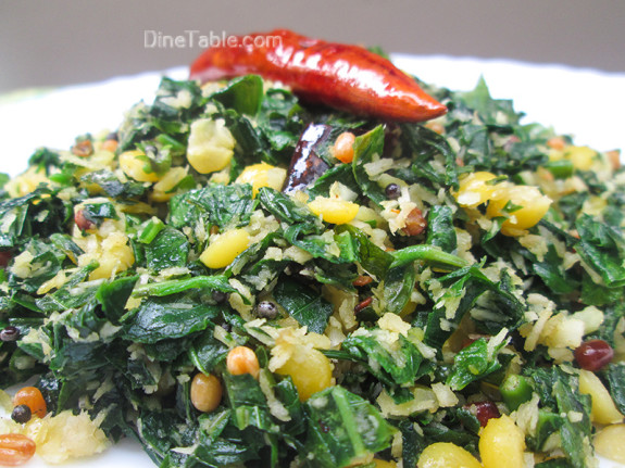 Cheera Parippu Thoran Recipe - ചീര പരിപ്പ് തോരൻ - Spinach Dal Stir Fry Recipe - Onam Sadya Recipe