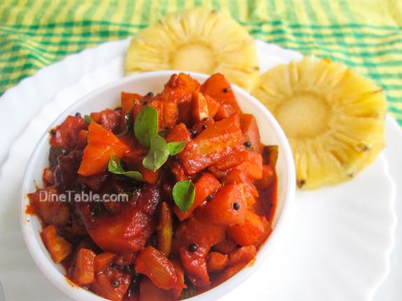 Pineapple Pickle Recipe - പൈനാപ്പിൾ അച്ചാർ - Spicy Recipe