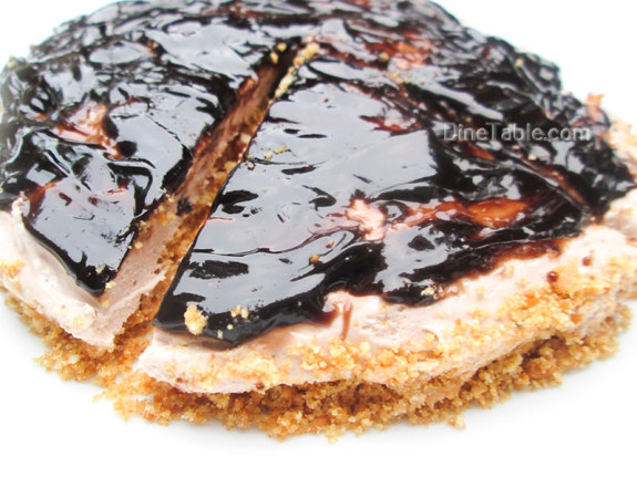 Cheesecake With Chocolate Sauce Topping / Dessert