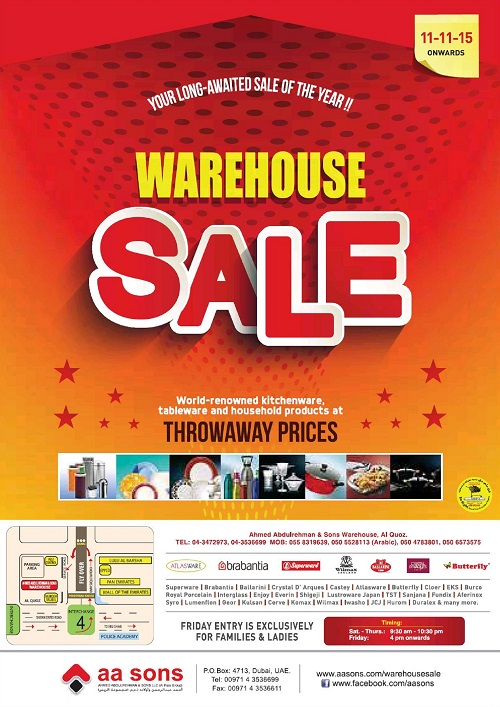 A A Sons Warehouse Sale in Dubai 2015