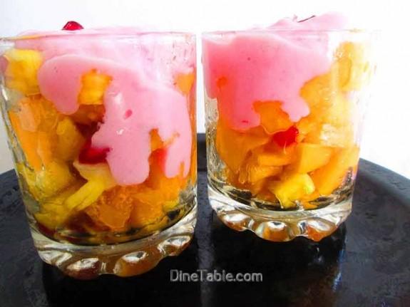 Strawberry Custard with Fruits / Dessert