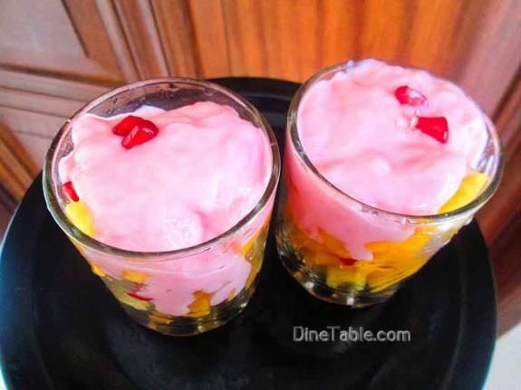Strawberry Custard with Fruits / Yummy