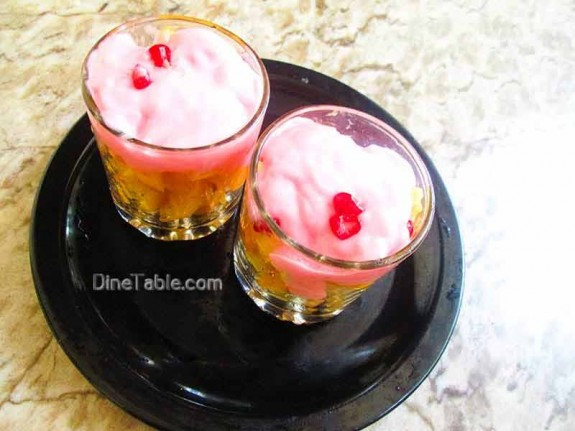 Strawberry Custard with Fruits / Easy