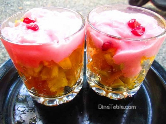 Strawberry Custard with Fruits / Healthy