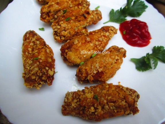 Oats Coated Crispy Fried Chicken Wings Recipe / Delicious Dish