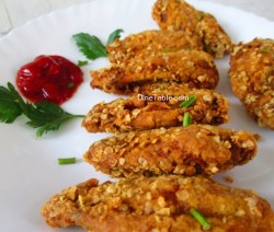 Oats Coated Crispy Fried Chicken Wings Recipe / Nonvegetarian Dish