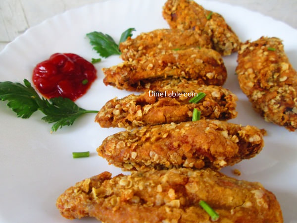 Oats Coated Crispy Fried Chicken Wings Easy Chicken Fry