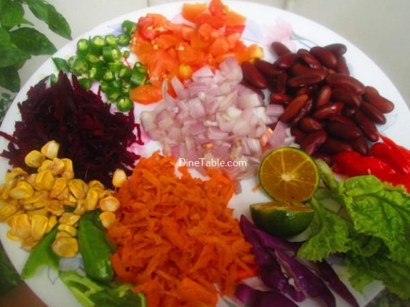 Rajma Carrot Beetroot Tomato Onion Corn Salad Recipe / Quick Salad