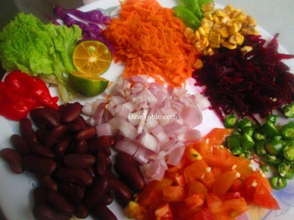 Rajma Carrot Beetroot Tomato Onion Corn Salad Recipe / Tasty Salad