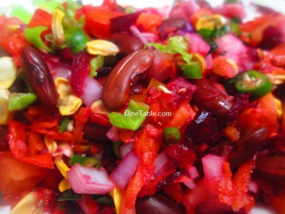 Rajma Carrot Beetroot Tomato Onion Corn Salad Recipe / Vegetarian Salad