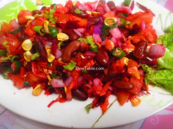 Rajma Carrot Beetroot Tomato Onion Corn Salad Recipe / Vegetable Salad