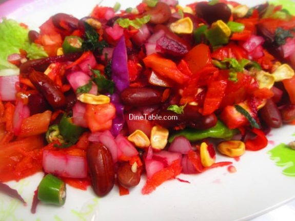 Rajma Carrot Beetroot Tomato Onion Corn Salad Recipe / Yummy Salad