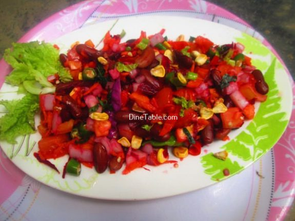 Rajma Carrot Beetroot Tomato Onion Corn Salad Recipe / Healthy Salad