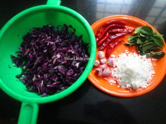Purple Cabbage Thoran Recipe / Easy Thoran