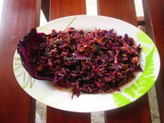 Purple Cabbage Thoran Recipe / Delicious Thoran