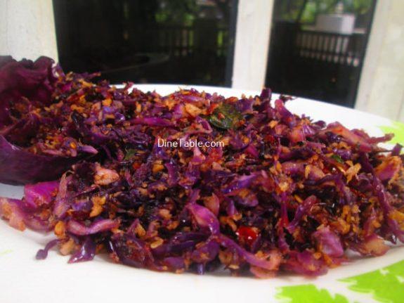 Purple Cabbage Thoran Recipe / Simple Thoran