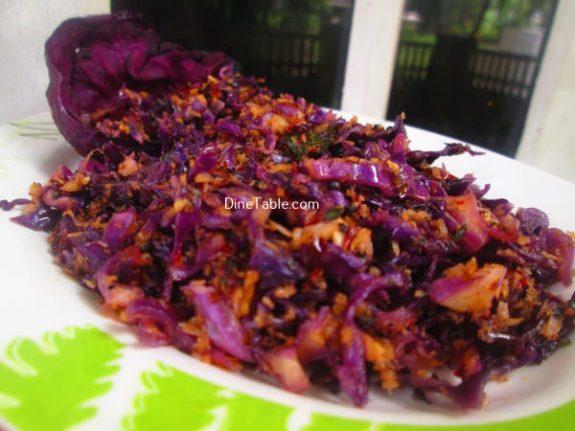 Purple Cabbage Thoran Recipe / Homemade Thoran