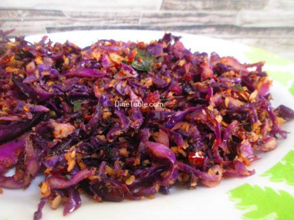 Purple Cabbage Thoran Recipe / Yummy Thoran