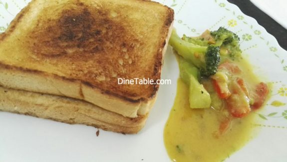 Broccoli Thai Curry - With Toasted Bread - Quick & Healthy Thai Veg Recipe