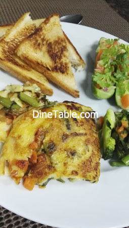 Easy egg bake recipe with loaded vegetables & baked bread - Healthy Breakfast Recipe