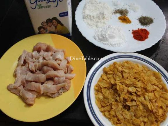 Cornflakes Coated Chicken Fingers Recipe - Simple Snack