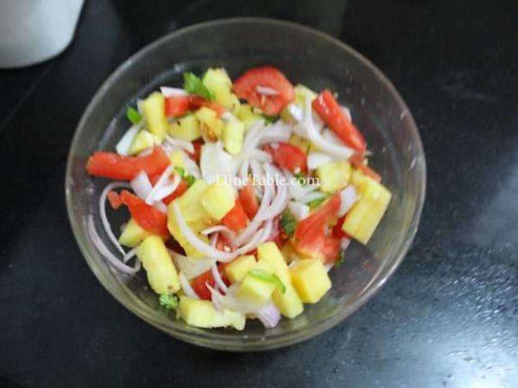 Pineapple Tomato Cucumber Onion Salad Recipe - Simple Dish