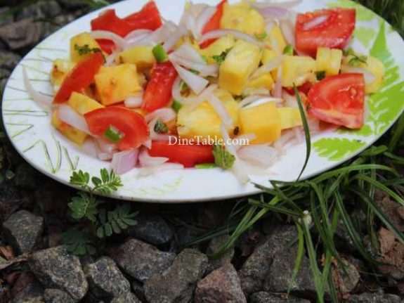 Pineapple Tomato Cucumber Onion Salad Recipe - Quick Dish