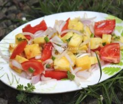 Pineapple Tomato Cucumber Onion Salad Recipe - Tasty Dish