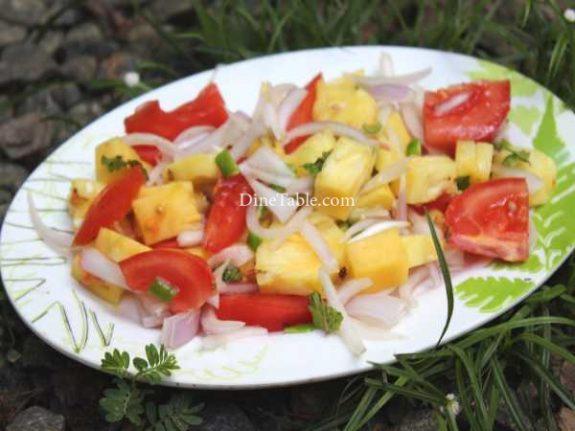 Pineapple Tomato Cucumber Onion Salad Recipe - Tasty Dish